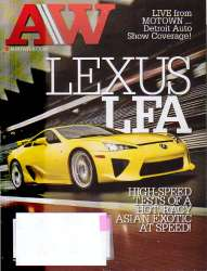 AutoWeek Magazine Lexus LFA January 24 2011 Edition For Sale